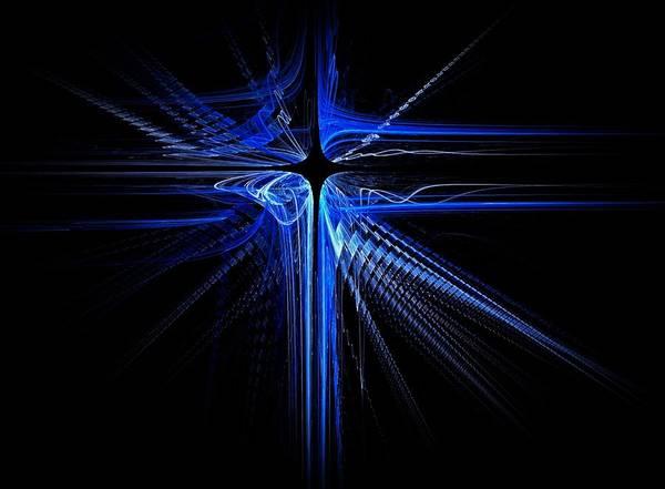 Dehner Digital Art - Blue Laser Cross  by David Dehner