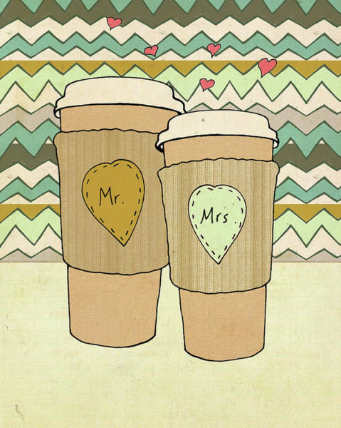 Wedding Painting - Blue Lattes by Lisa Barbero
