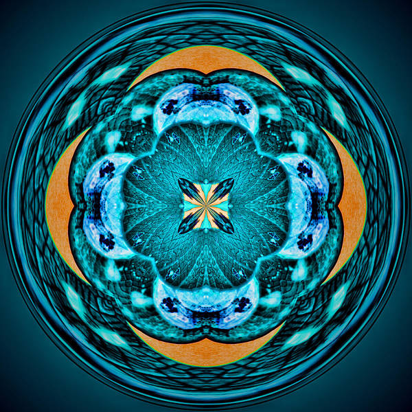 Blue Leaf Mandala Kaleidoscope Art Print