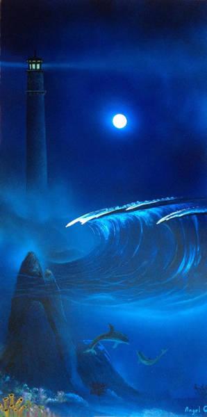 Tormenta Wall Art - Painting - Blue Light House by Angel Ortiz