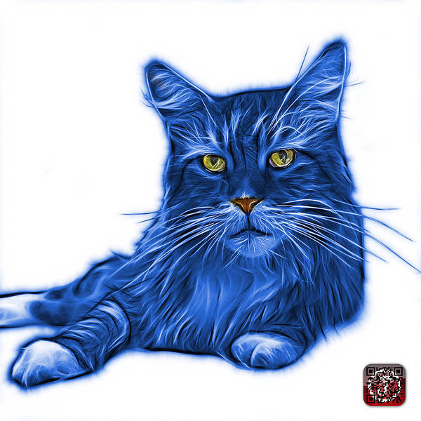Painting - Blue Maine Coon Cat - 3926 - Wb by James Ahn