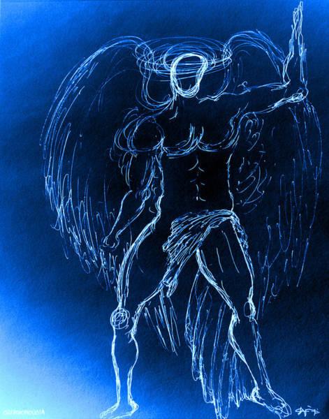 Blue Male Angel Art Print