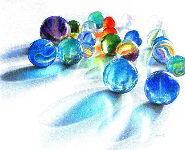 Teal Drawing - Blue Marble Reflections by Carla Kurt