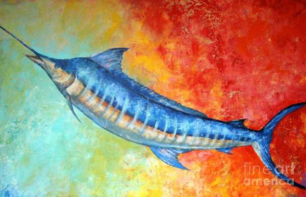 Wall Art - Painting - Blue Marlin Fish by Gabriela Valencia