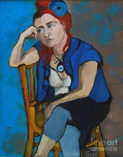 Sad Painting - Blue Mood by Mona Edulesco