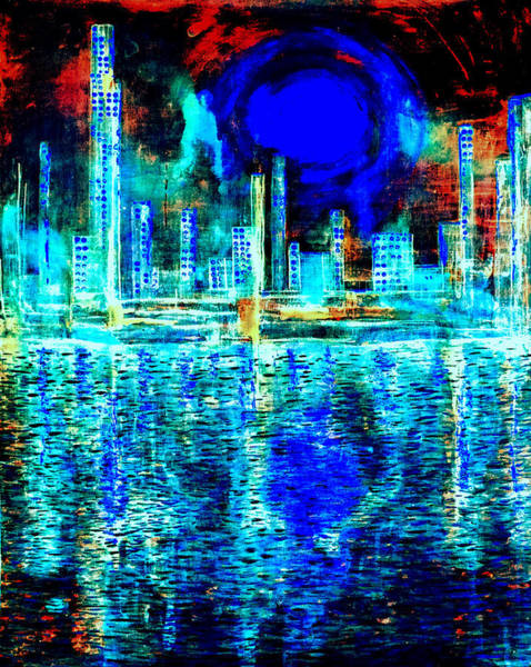 Painting - Blue Moon In A Midnight Sky by Giorgio Tuscani