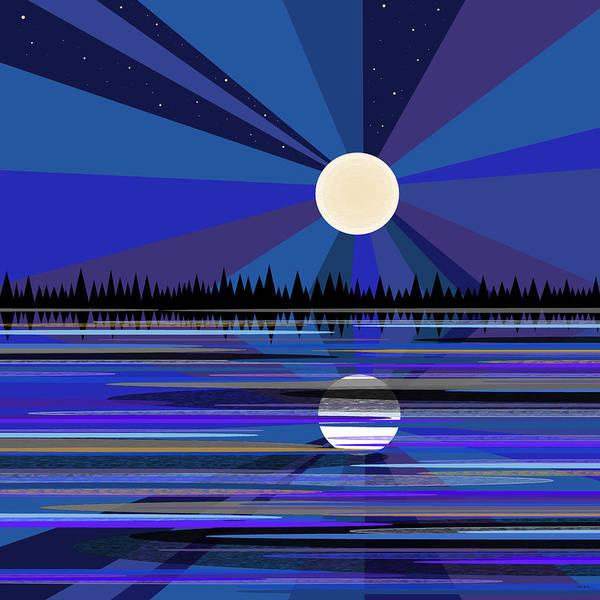 Semis Digital Art - Blue Moon Rise by Val Arie