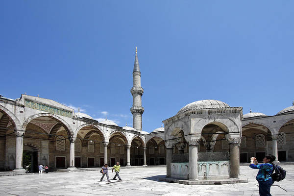Sultan Ahmet Camii Wall Art - Photograph - Blue Mosque Courtyard by Sally Weigand