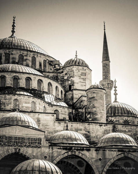 Photograph - Blue Mosque In Black And White by Ross Henton