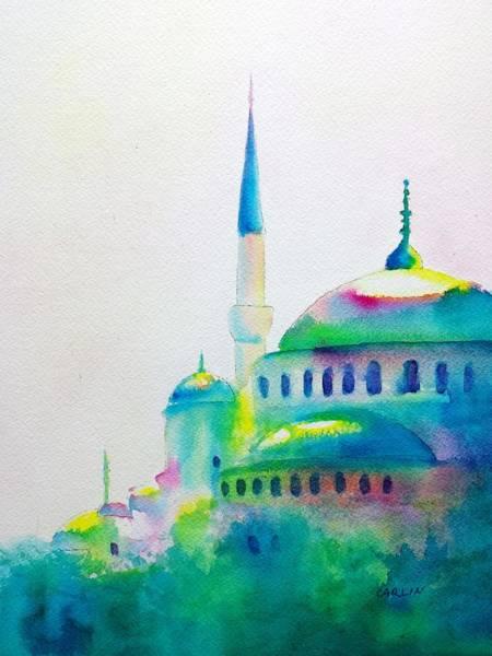 Painting - Blue Mosque In Greens by Carlin Blahnik CarlinArtWatercolor