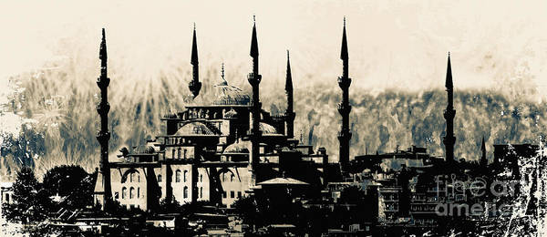 Mixed Media - Blue Mosque Istanbul Turkey by Ginette Callaway