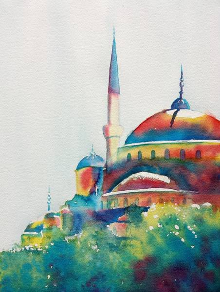 Painting - Blue Mosque Sun Kissed Domes by Carlin Blahnik CarlinArtWatercolor
