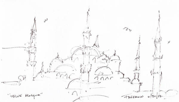 Wall Art - Drawing - Blue Mosque by Valerie Freeman