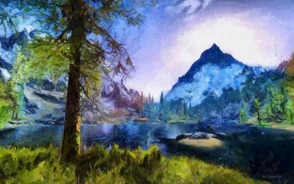 Videogame Painting - Blue Mountain Of Skyrim by Kai Saarto