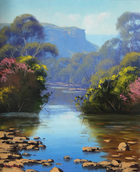 Brook Painting - Blue Mountains River by Graham Gercken