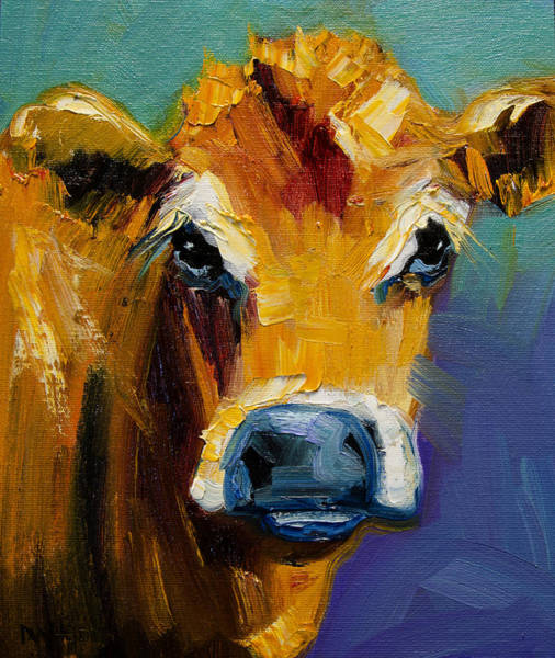 Wall Art - Painting - Blue Nose Cow by Diane Whitehead