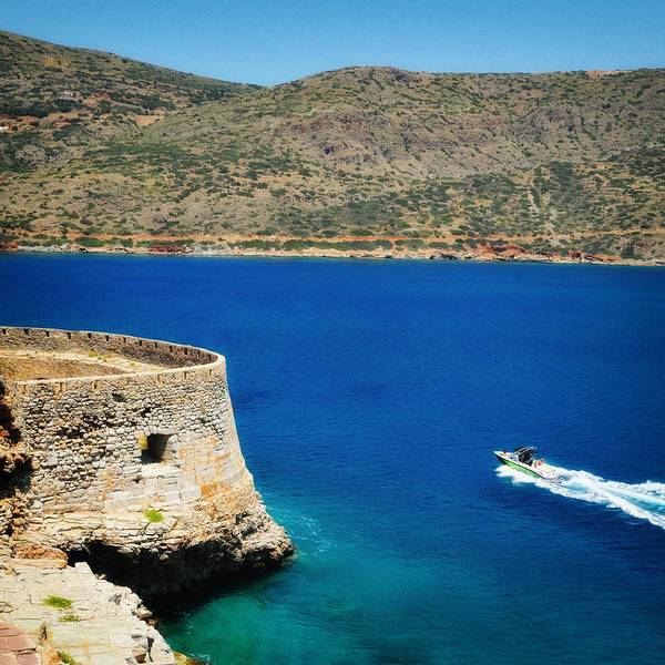 View Wall Art - Photograph - Blue Ocean And A Boat In Greece by Matthias Hauser