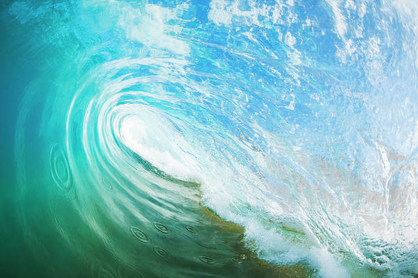 Wall Art - Photograph - Blue Ocean Wave, View Inside The Wave by Design Pics Vibe