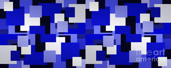 Digital Art - Blue On Blue 4 Panorama by Andee Design