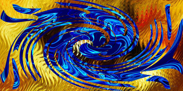Digital Art - Blue On Fiery Gold - Abstract by rd Erickson