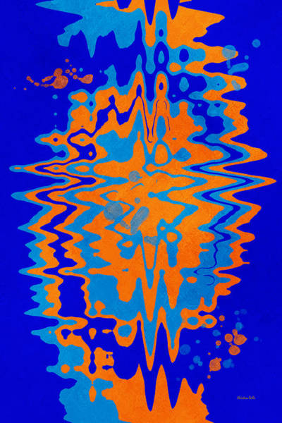 Spatter Mixed Media - Blue Orange Abstract by Christina Rollo