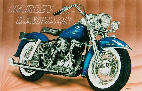 Pan Head Painting - Harley Davidson Blue Pan Head by Mark Zelenkovich