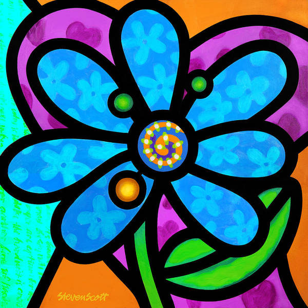 Wall Art - Painting - Blue Pinwheel Daisy by Steven Scott