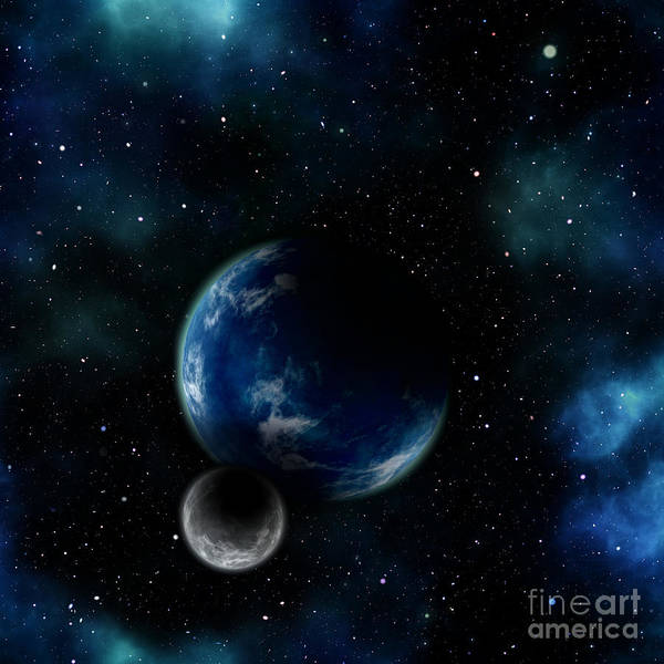 Digital Art - Blue Planet With Moon Background by Elle Arden Walby