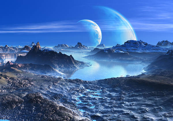 Frozen River Digital Art - Blue Planets In Orbit Over Mountains And Lakes by Spinning Angel