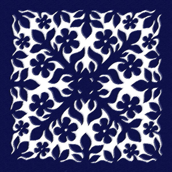 Quilt Digital Art - Blue Plumeria Quilt by James Temple