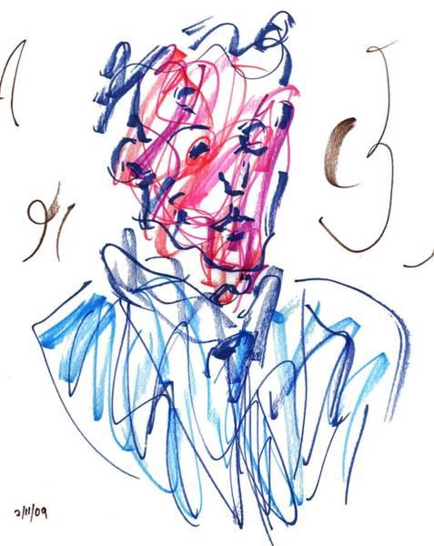 Drawing - Blue Portrait by Rachel Scott