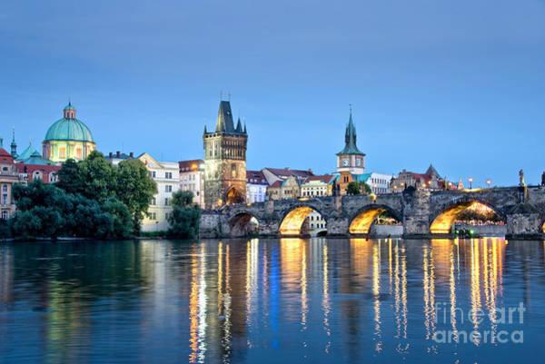 Charles Bridge Photograph - Blue Prague by Delphimages Photo Creations