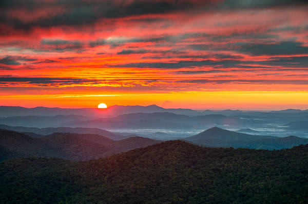 Appalachian Mountains Photograph - North Carolina Blue Ridge Parkway Nc Autumn Sunrise by Dave Allen