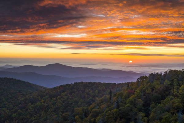 Blue Ridge Parkway Wall Art - Photograph - Blue Ridge Parkway North Carolina Autumn Mountains Sunrise Fall Foliage by Dave Allen