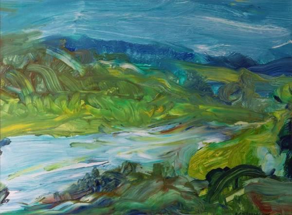 Impression Photograph - Blue River Landscape II, 1988 Oil On Canvas by Brenda Brin Booker