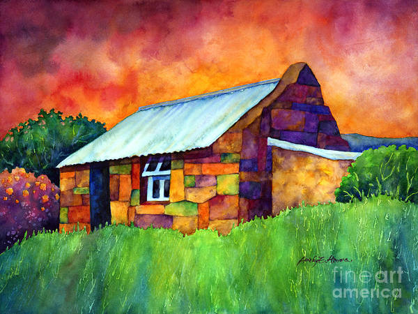 Wall Art - Painting - Blue Roof Cottage by Hailey E Herrera