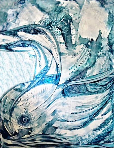 Painting - Blue Royal Swans Alcohol Inks by Danielle  Parent