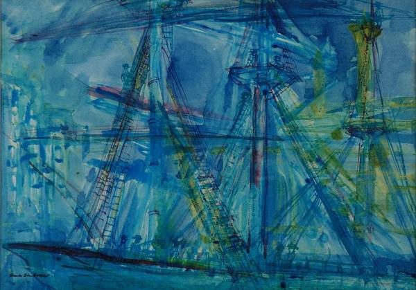 Rigging Photograph - Blue Schooner Pen & Ink With Wc On Paper by Brenda Brin Booker