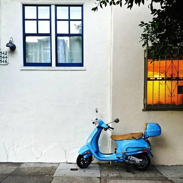 Wall Art - Photograph - Blue Scooter by Julie Gebhardt