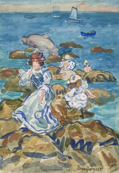 Rocky Coast Painting - Blue Sea Classic by Maurice Brazil Prendergast