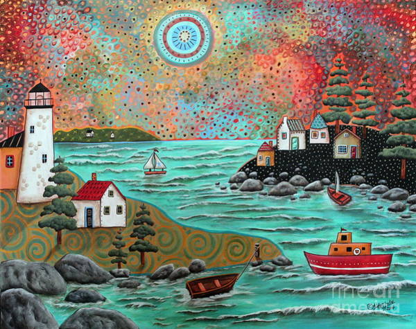 Folk Painting - Blue Sea by Karla Gerard
