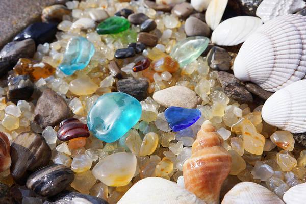 Wall Art - Photograph - Blue Seaglass Art Prints Shells Agates Rocks by Baslee Troutman