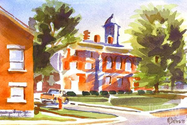 Painting - Blue Shadows With A Red Courthouse by Kip DeVore