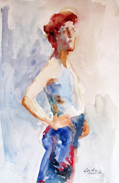 Painting - Blue Skirt by Linda Novick