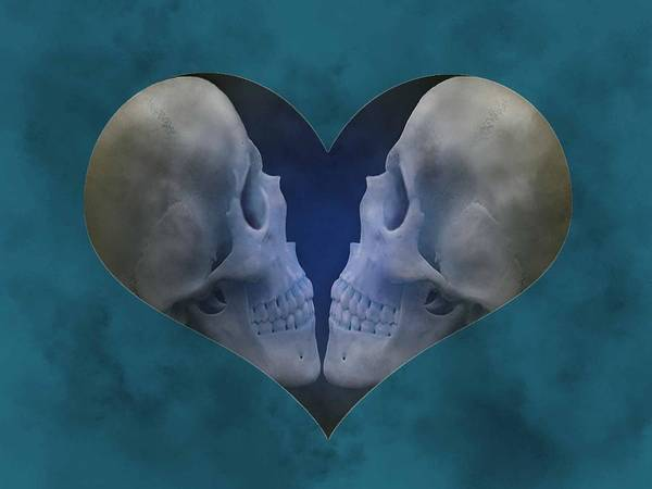 Wall Art - Digital Art - Blue Skull Love by Diana Shively