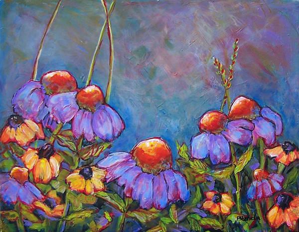 Coneflower Painting - Blue Sky Flowers by Blenda Studio