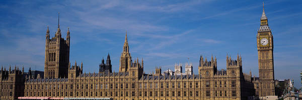 Houses Of Parliament Wall Art - Photograph - Blue Sky Over A Building, Big Ben by Panoramic Images