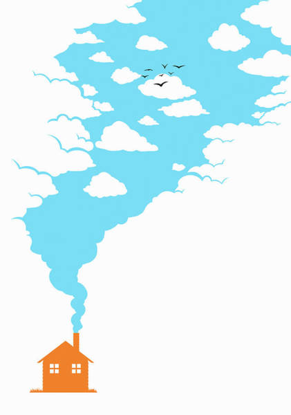 Wall Art - Photograph - Blue Sky Smoke From House Chimney by Ikon Ikon Images