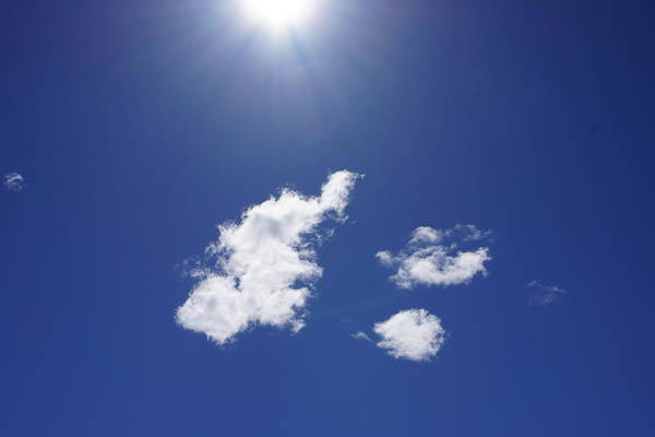 Wall Art - Photograph - Blue Sky Sun Shining Art Prints Sun Rays White Clouds by Baslee Troutman