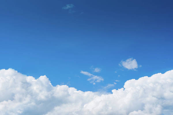 Ozone Layer Photograph - Blue Sky With Dramatic White Clouds by Primeimages